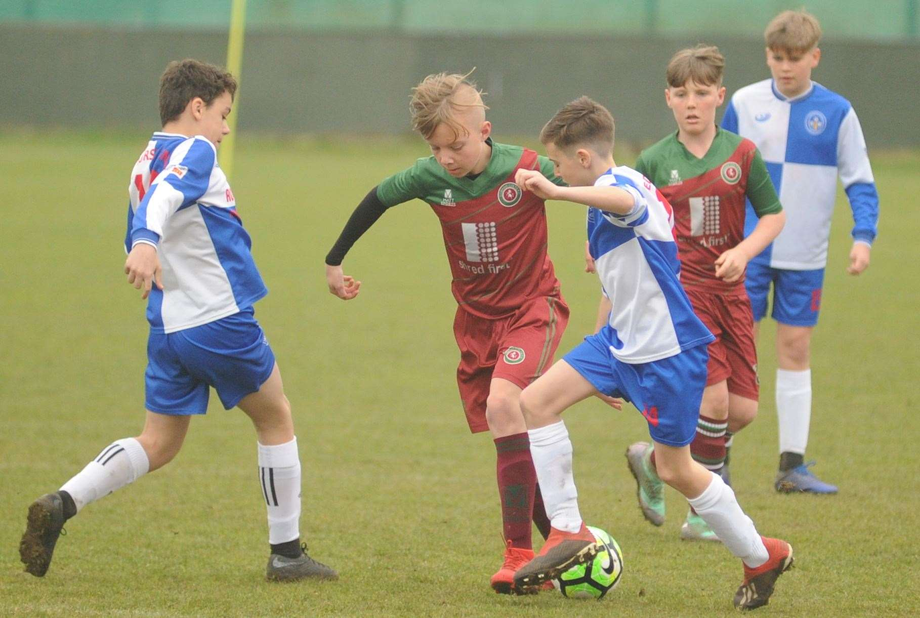 Under-12 League Cup final action between Cobham Colts Blue and Bredhurst Juniors Picture: Steve Crispe