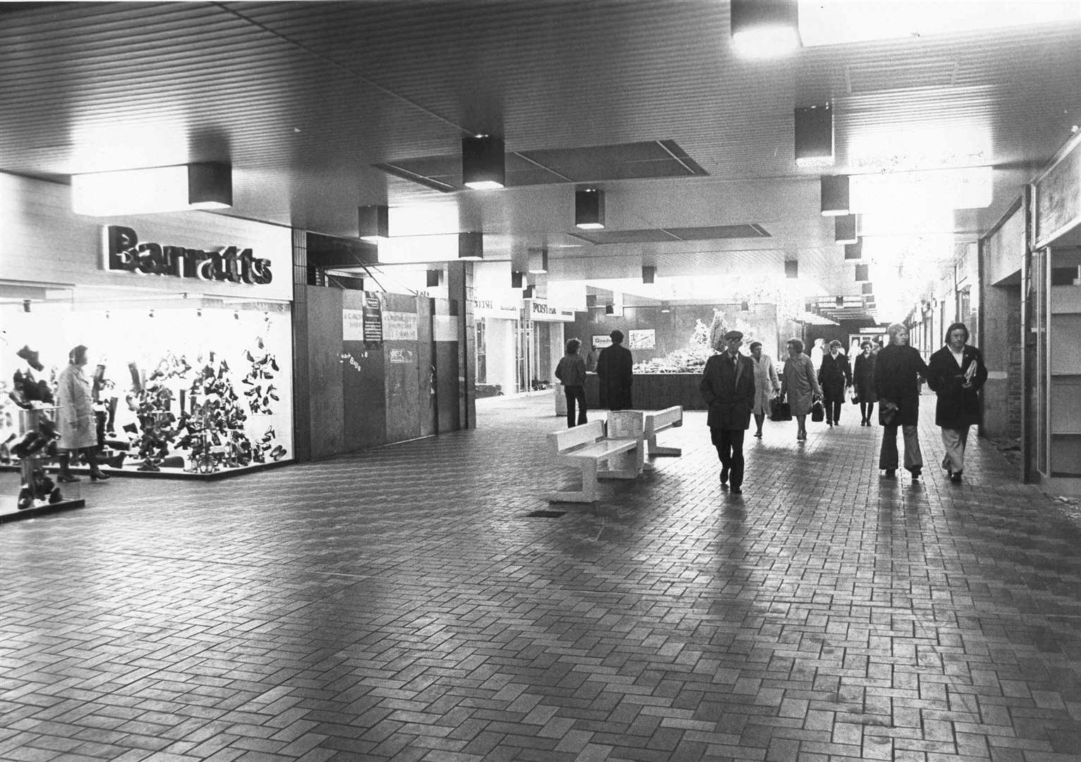 Barratts shoe shop can be seen on the left in the Forum shopping centre in Sittingbourne, October 1974