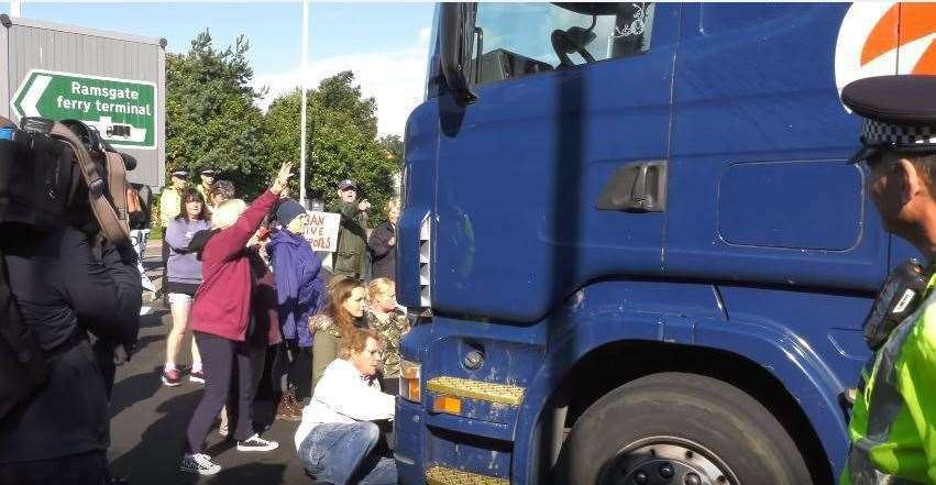 An agreement with police and haulage firms gives campaigners two minutes to protest when each vehicle arrives at the port. File picture taken by Ian Driver, August 2017