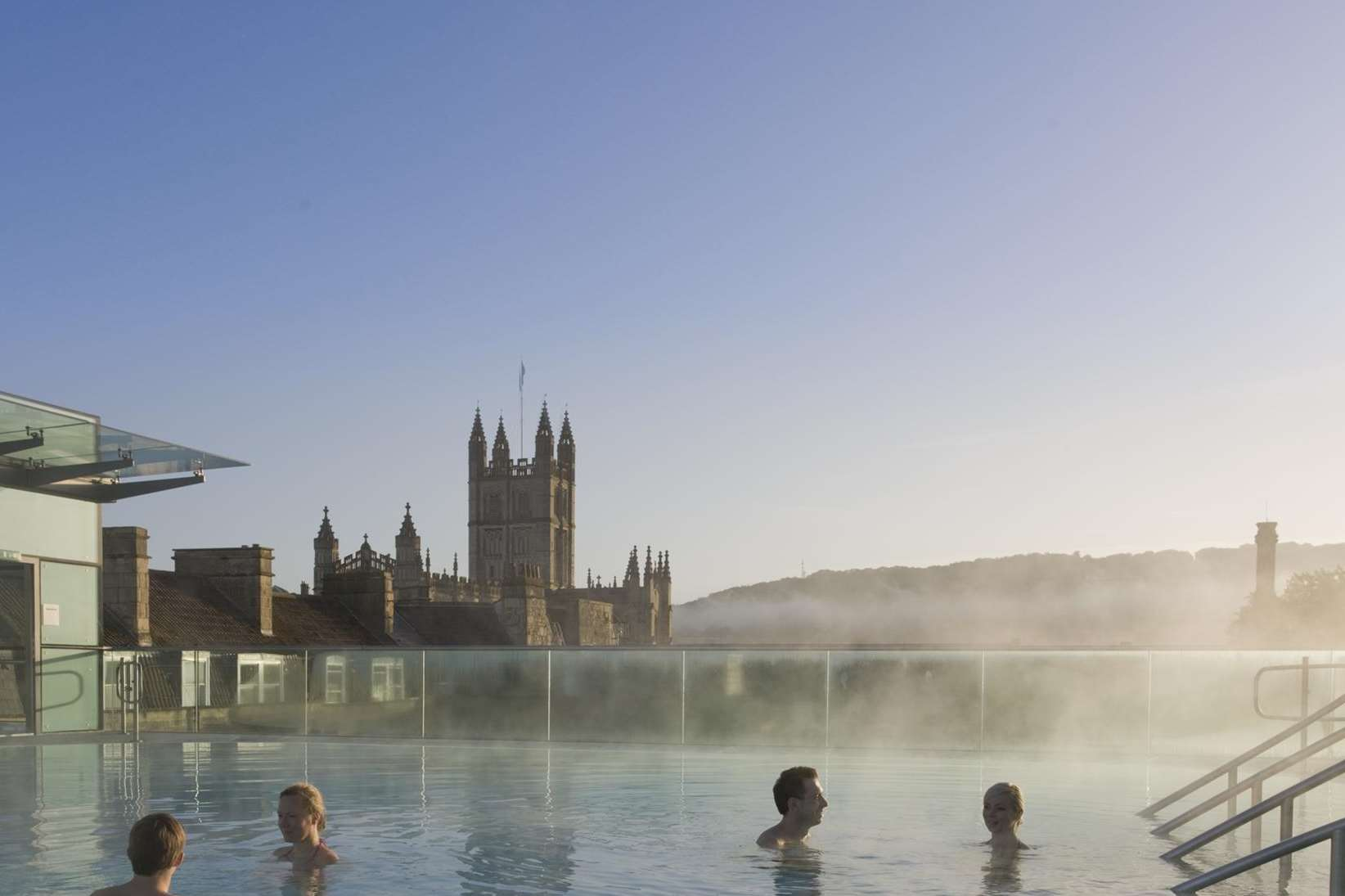 The Rooftop pool at Thermae Bath Spa. Britain's only natural thermal spa is where traditional meets state-of-the art with a range of pools, treatments, relaxation rooms and multi-sensory wellness suite.