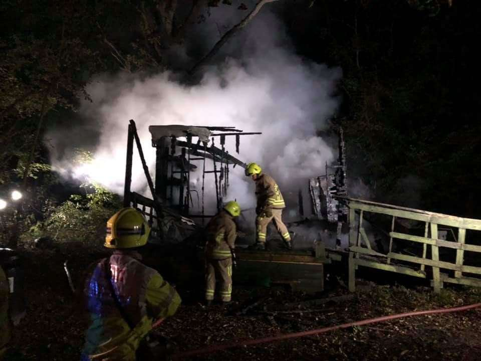 Firefighters tackling the blaze at The East Kent Railway near Dover