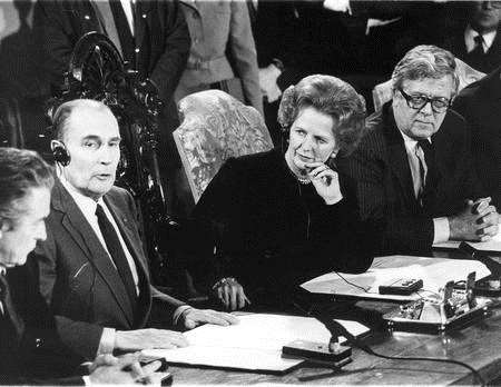 Prime Minister Margaret Thatcher signs the agreement that created the Channel Tunnel in 1986