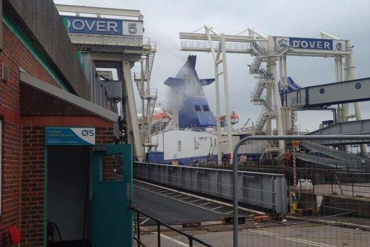 Passengers were evacuated in the fire on board a ferry at Dover. Picture: @Kent_999s
