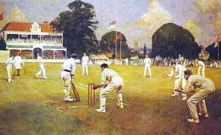 Albert Chevallier Tayler's painting of Kent v Lancashire in 1906