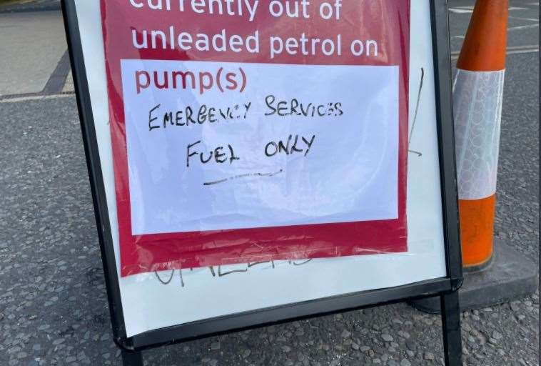 Sainsbury's gas station in Otford is only open for emergency services.  Photo Alex Jee