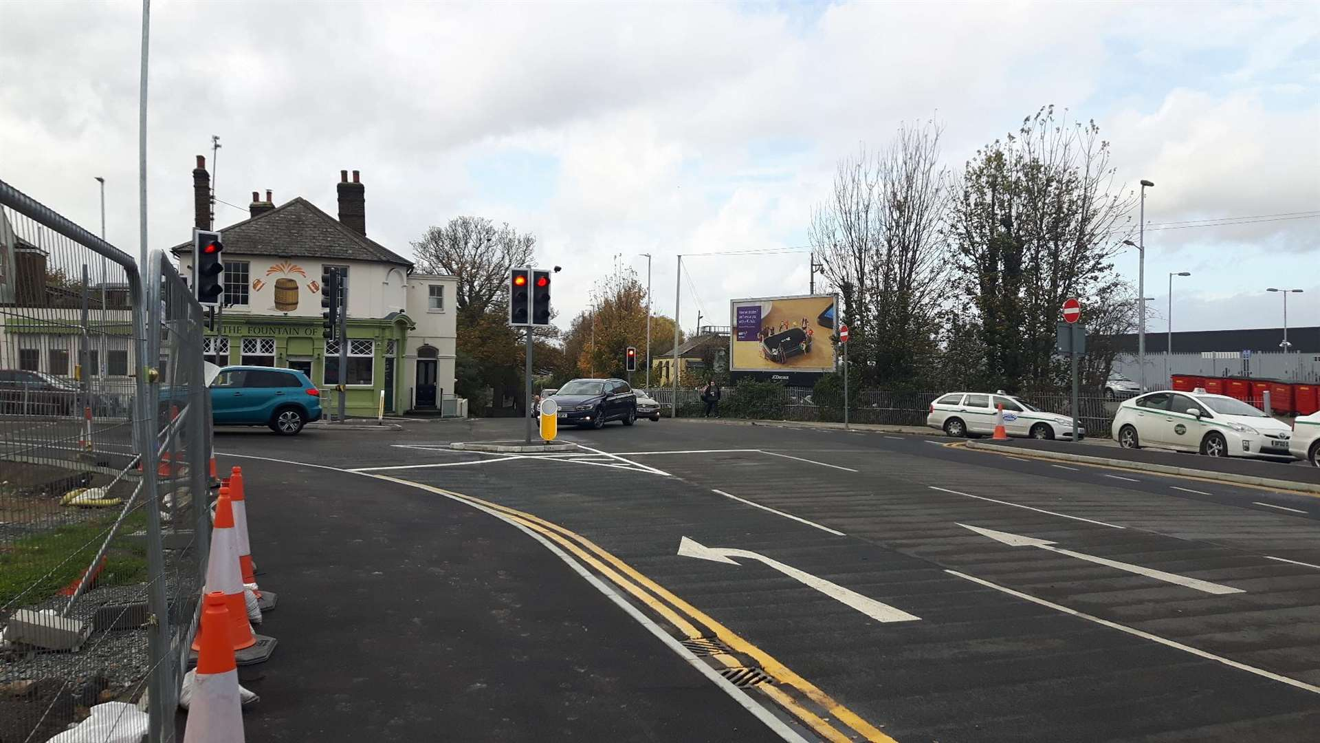 The new road layout outside the station looking towards the Fountain of Ale