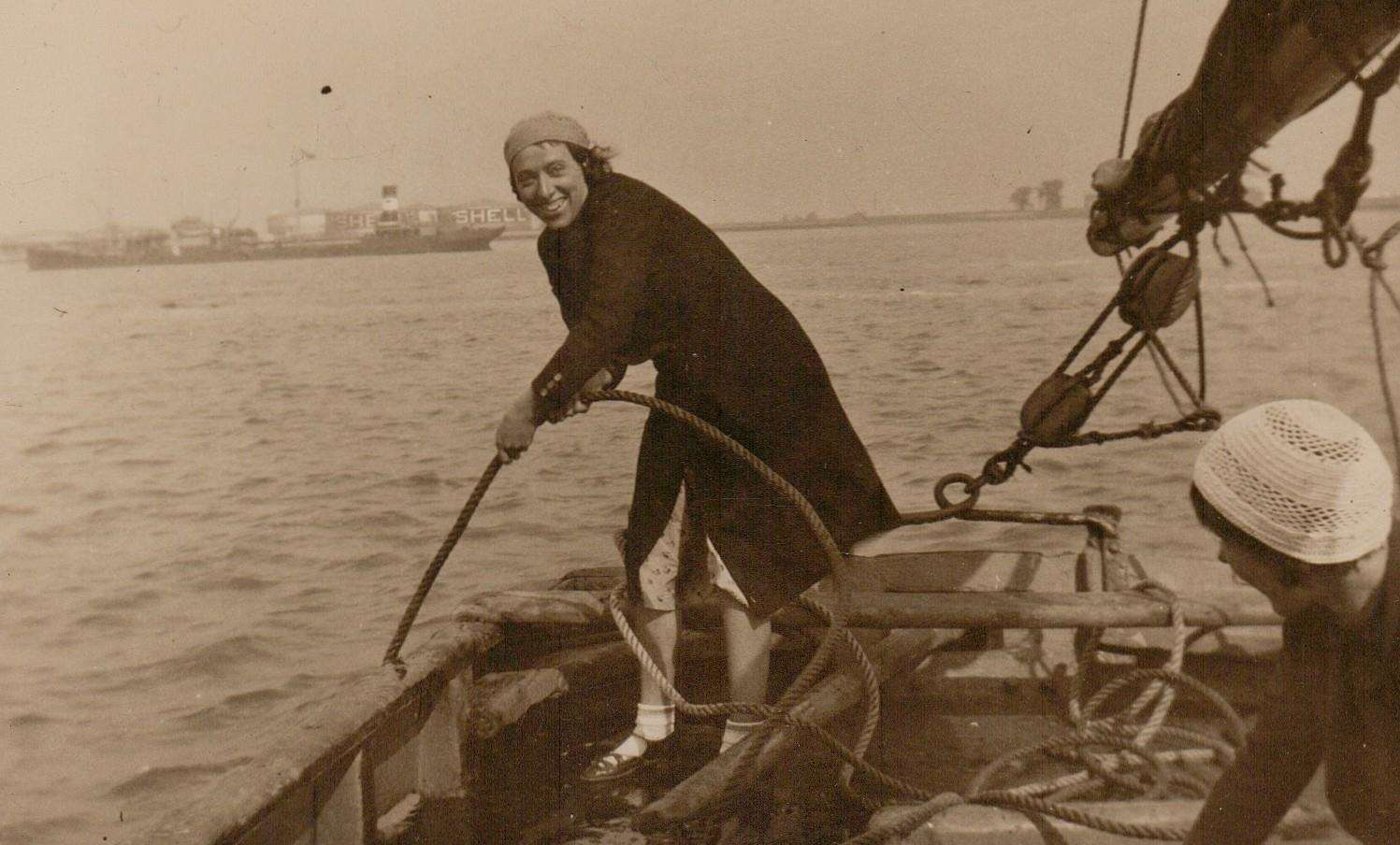 Bill's mother Olive working aboard the Thistle