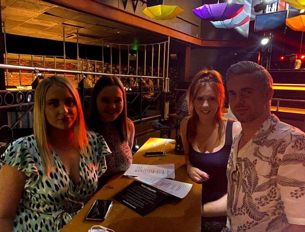 Pub lovers at night Clare Wilson, Scott Kattenhorn and Eleanor Willson