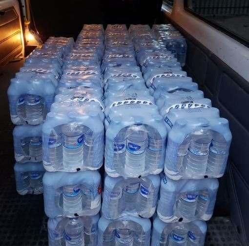 Khalsa Aid has thousands of bottles of water for stranded truckers. Picture twitter