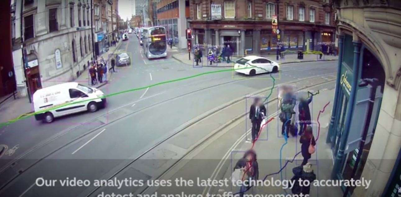 A screenshot from a Vivacity video showing how the cameras could work Picture: YouTube/Vivacity