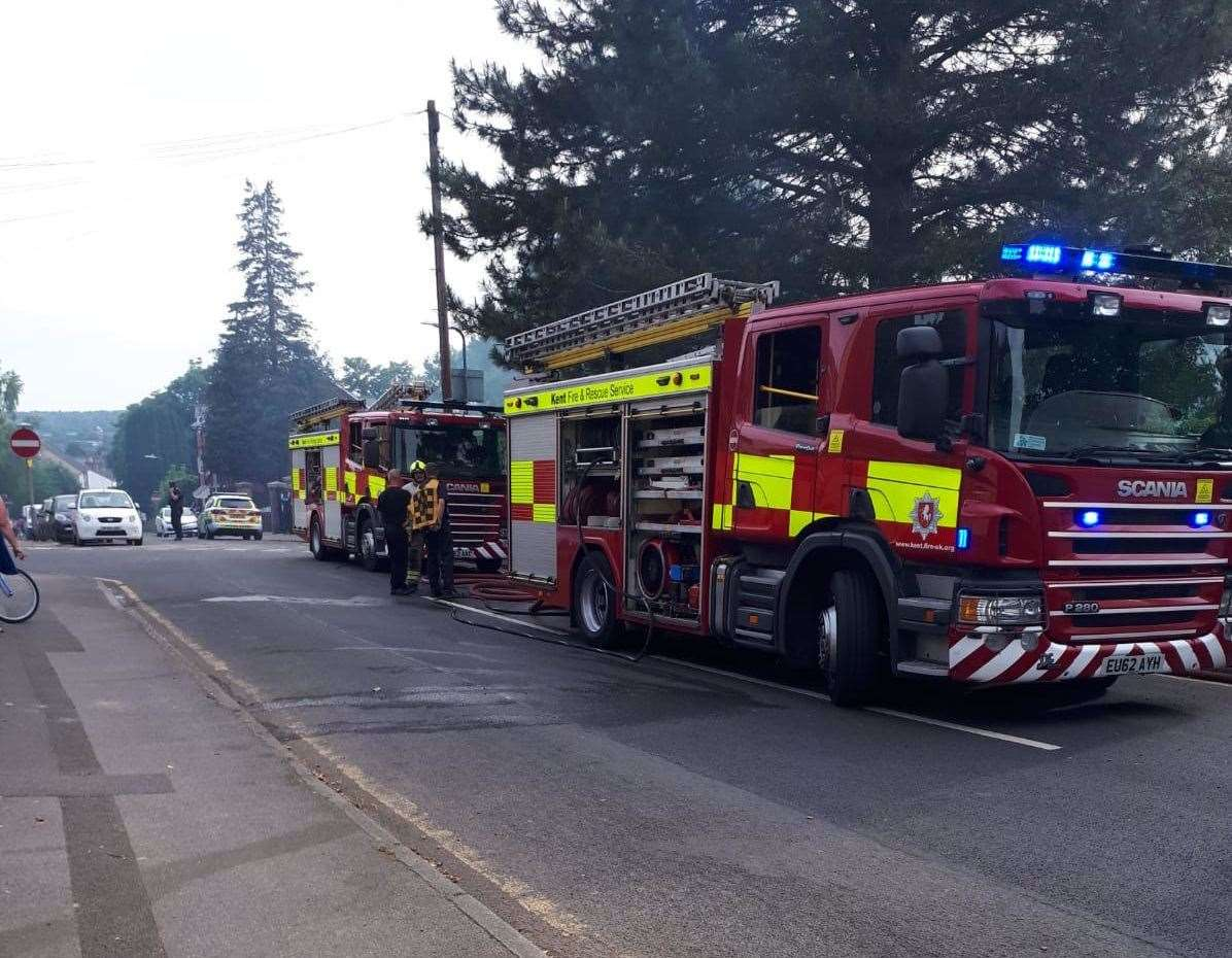 Two fire engines were pictured at the scene in Gladstone Road, Maidstone. Picture: Paul McPolin