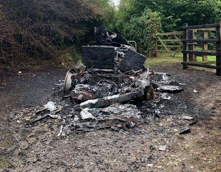 The Range Rover, abandoned in Lower Bloors Lane, Rainham, was destroyed by fire