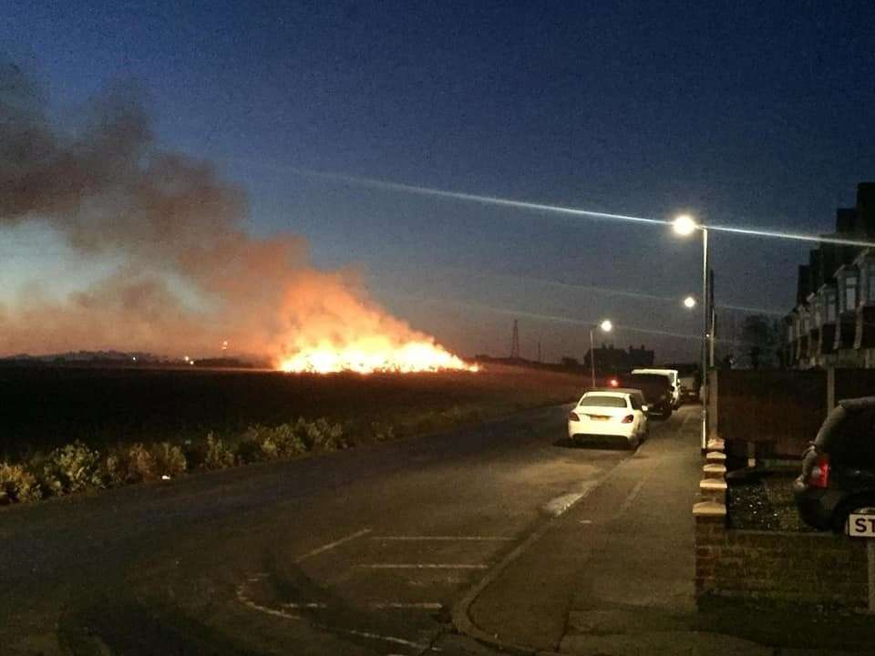 The haystack caught alight in the early hours of yesterday morning. Picture: Amanda Jayne Priddle