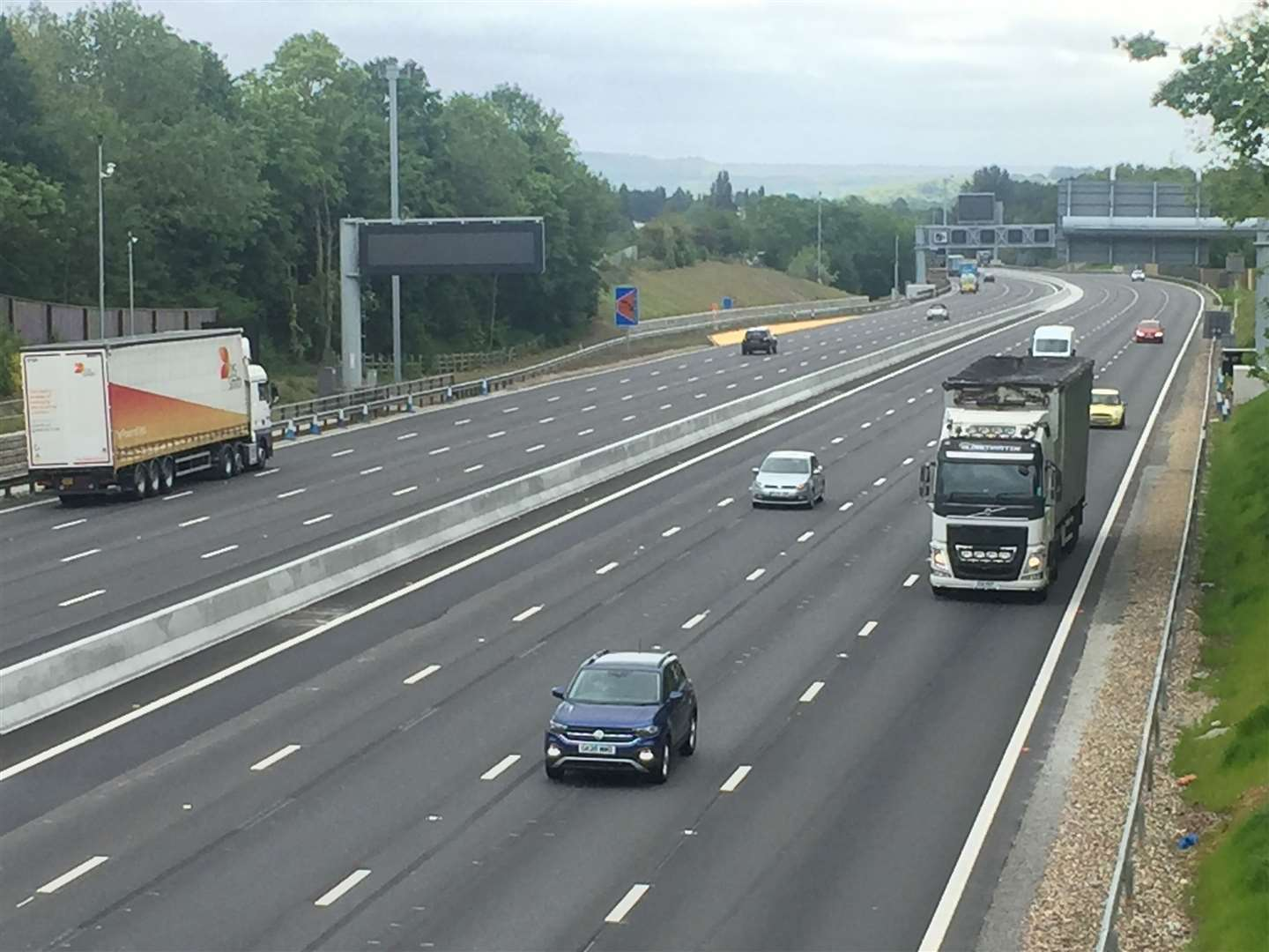 The recently-finished smart motorway section of the M20