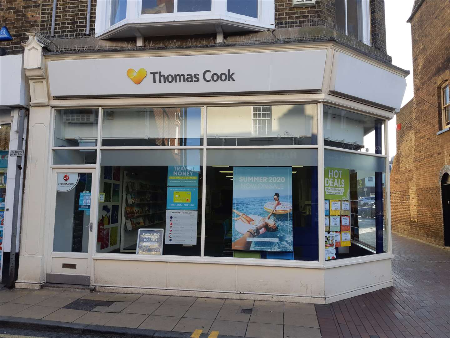 Staff were told not to go to the Thomas Cook shop in Deal High Street today after news of the company's collapse