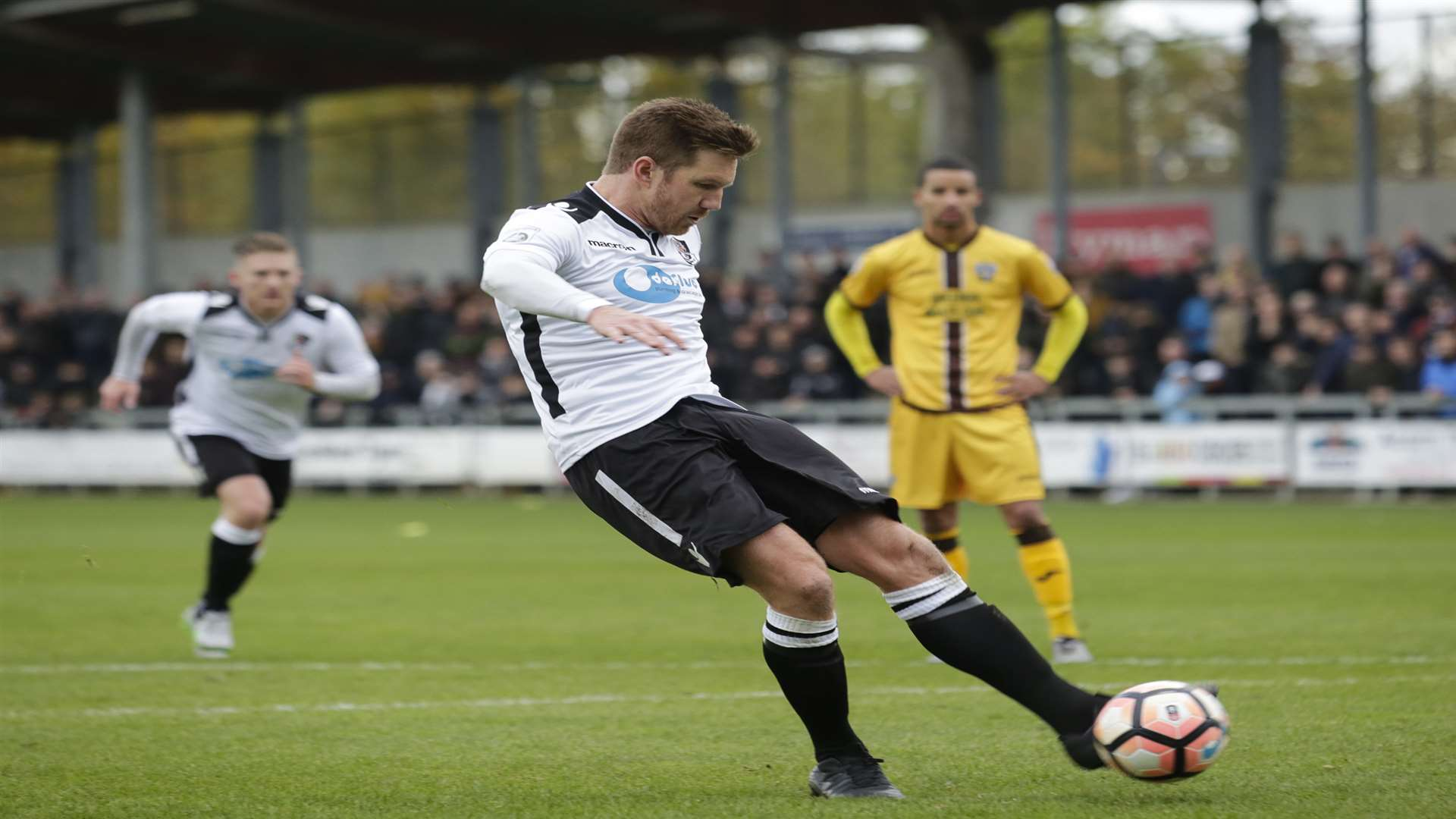 Elliot Bradbrook scores one of his 24 goals for Dartford in 2016-17 Picture: Martin Apps