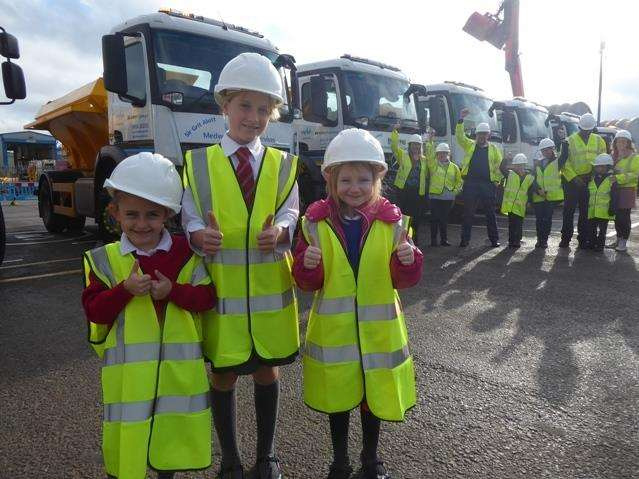 Competition winners Poppy Knight, Kitty Miller and Elise Price with the new gritters