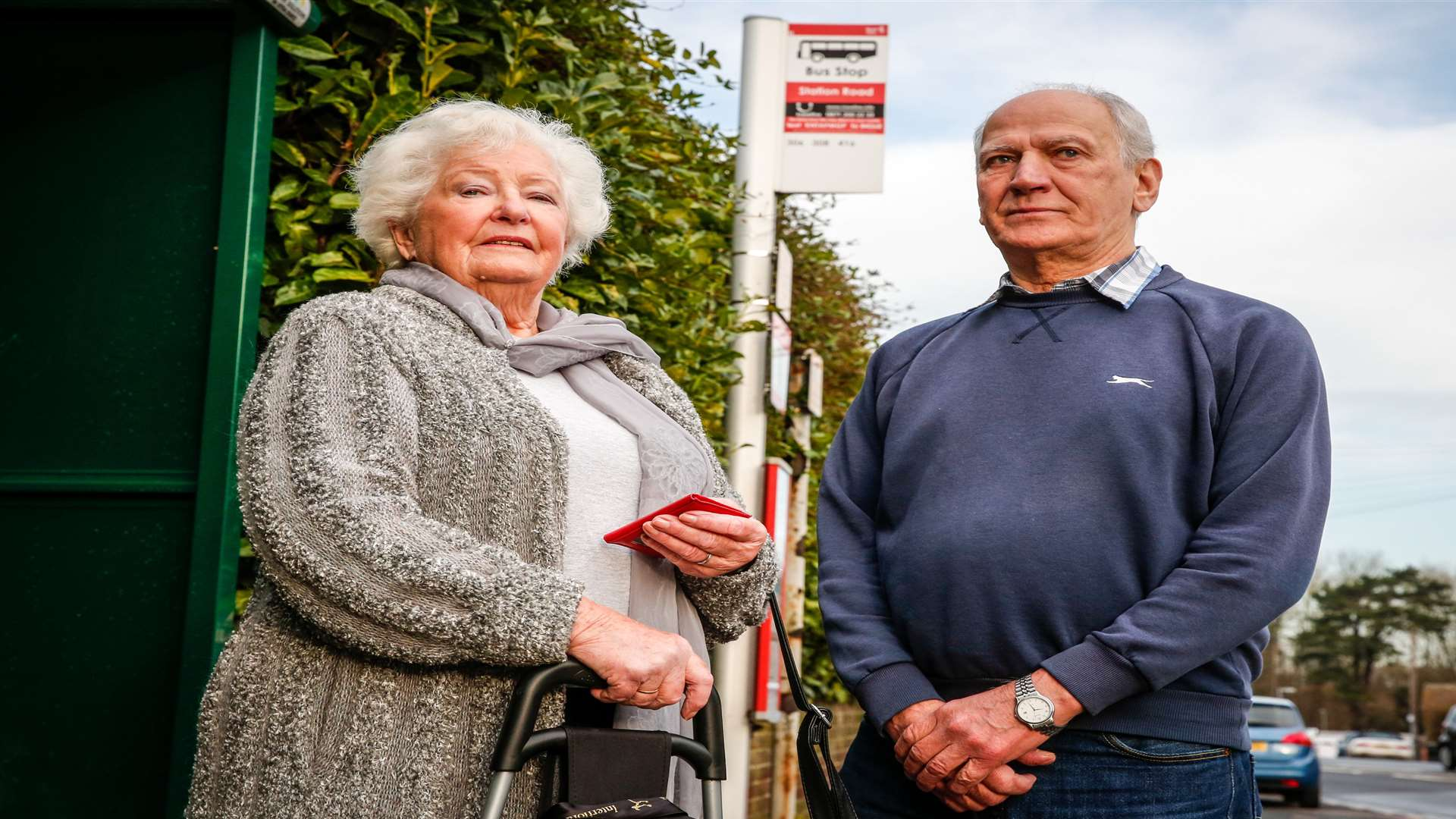Anne Goodman and Ron Stapley have had to wait hours for delayed buses in recent weeks. Picture: Matthew Walker