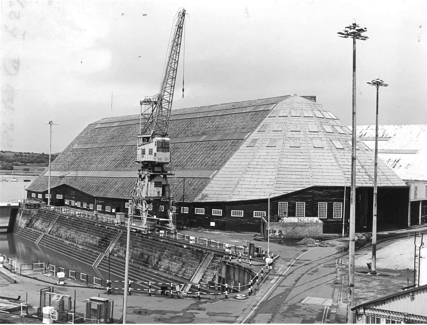 Number 3 slip at Chatham Historic Dockyard pictured in 1985. The magnificent timber framed building was completed in 1838 and is among 45 scheduled ancient monuments at the dockyard