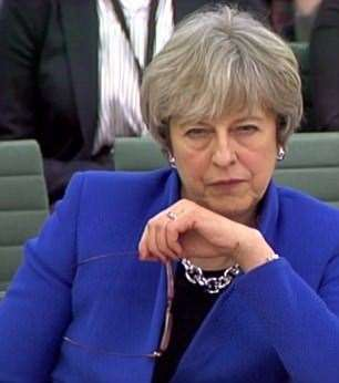 An example of Theresa May's famous death stare