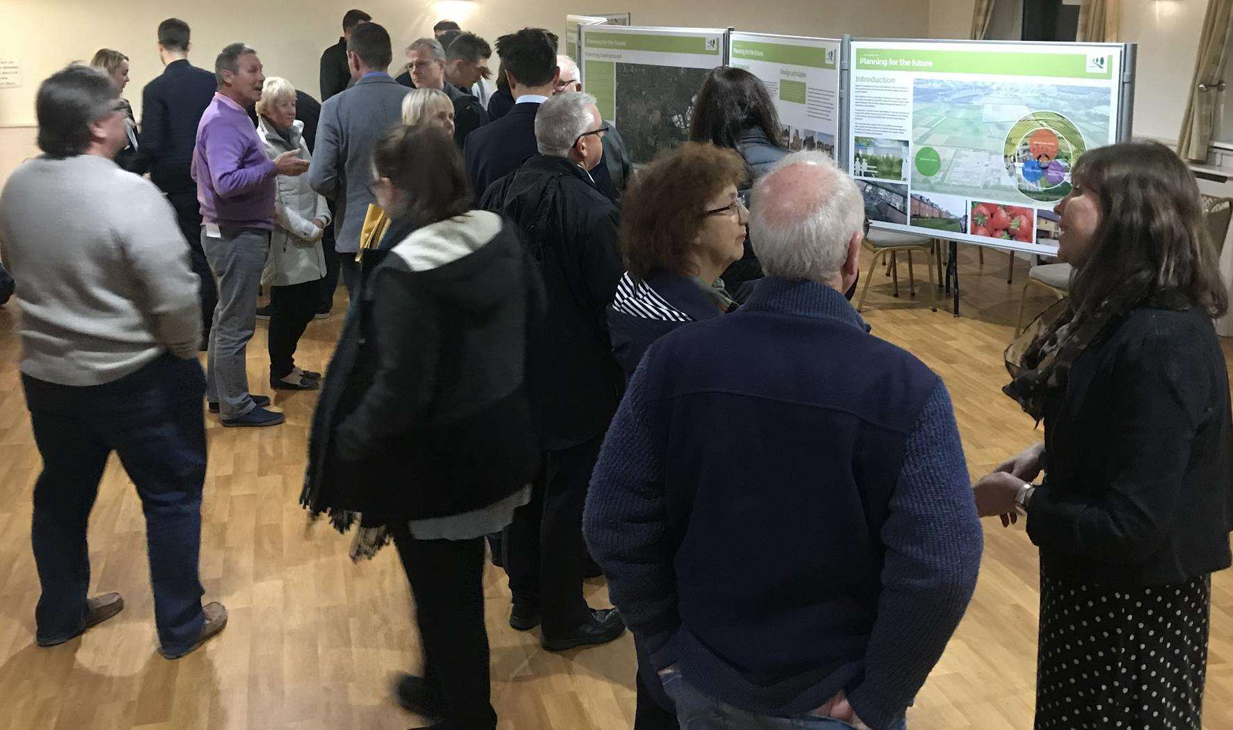 Ditton villagers at last week's public exhibition into housing plans for the East Malling Research site