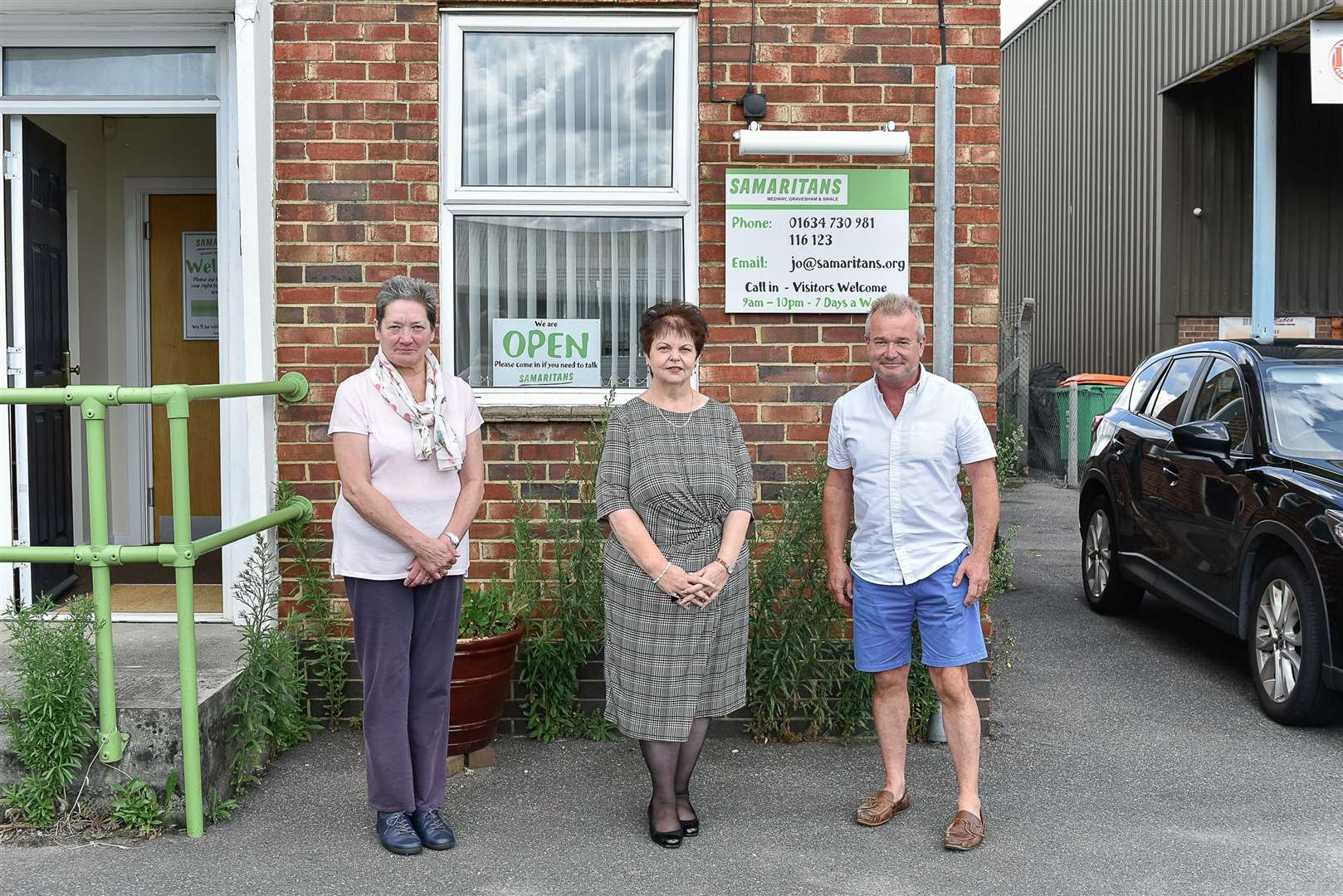 Samaritans Charity Director, Des McCarthy, and volunteers Wendy Bell & Georgina Laurie, at The Samaritans offices in Strood. Picture: Tony Jones (15193641)