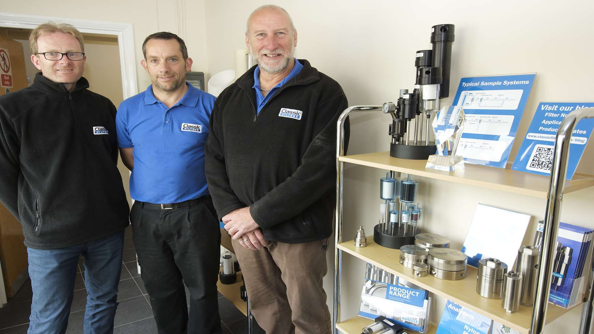 From left, Classic Filters sales director David Janes, managing director Ian Bovington and packing and dispatch manager Paul Firmin