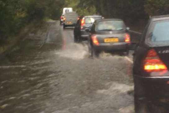 Flooding in Tonbridge, London road/A26 near the Bidborough turning. Picture: @LauraJCaryl