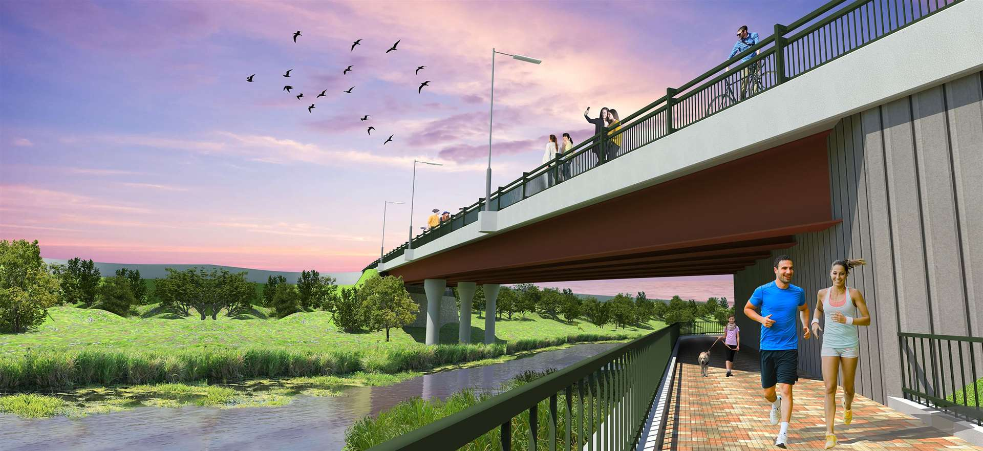 An artist's impression of how the bridge will look once finished next year. Picture Credit: Ebbsfleet Development Corporation (18383790)