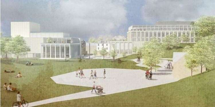 An artist's impression of the proposed civic centre from the Calverley Grounds (9881793)