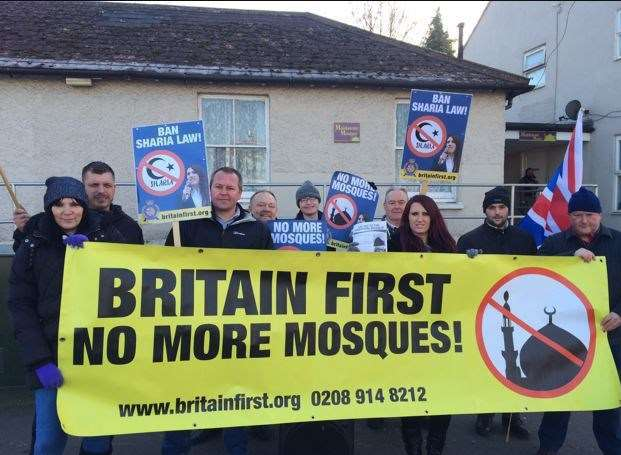 Members of Britain First protest against Maidstone mosque's expansion plans
