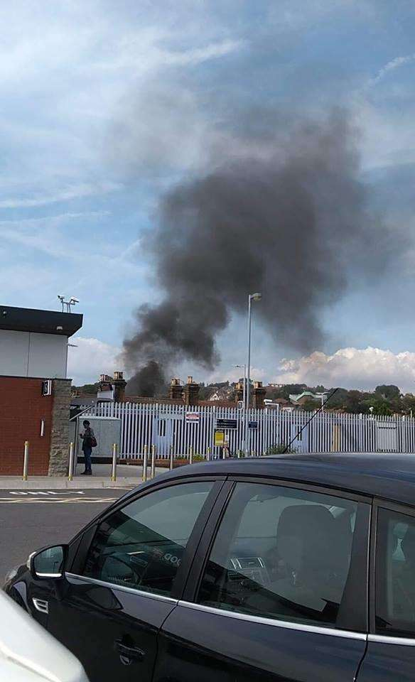 Fire sparked from a four by four in the car park on South Eastern Road, Strood (3894324)