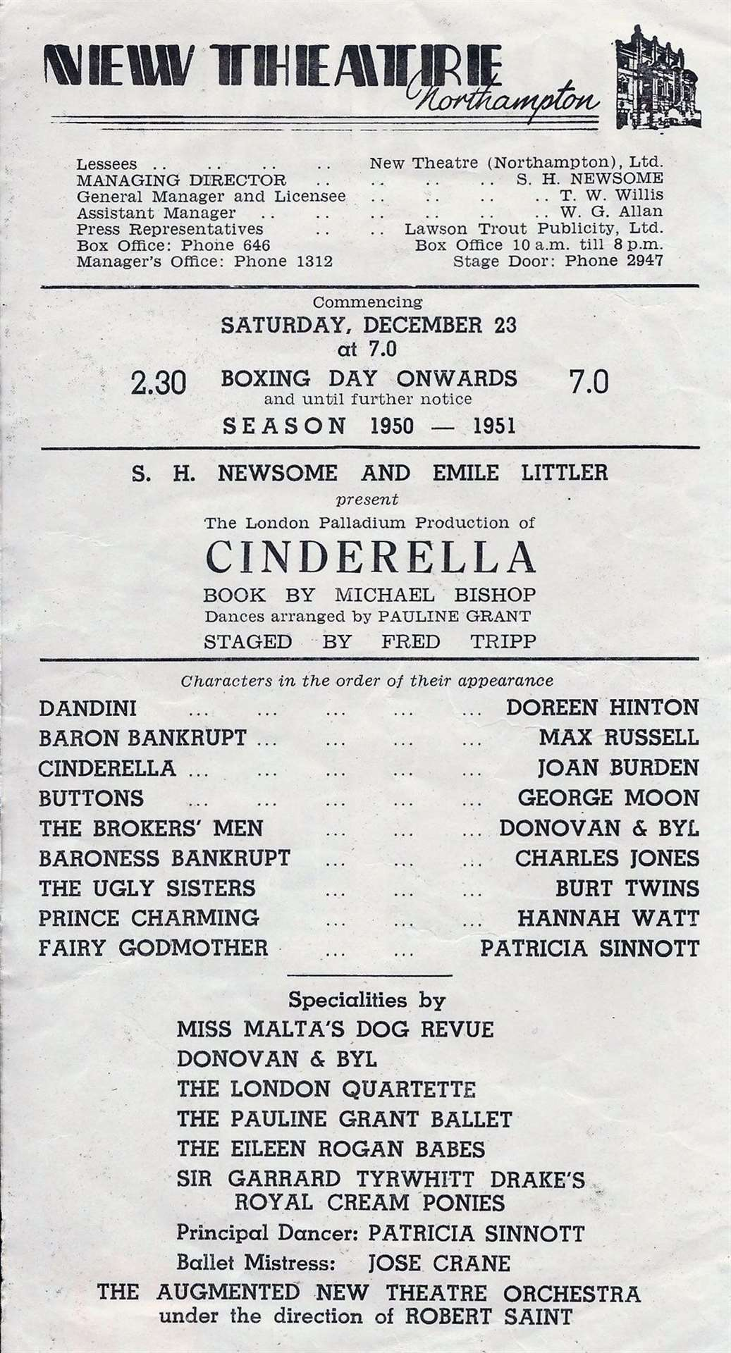 A programme for the Northampton New Theatre's production of Cinderella, with Sir Garrard's ponies on the cast list