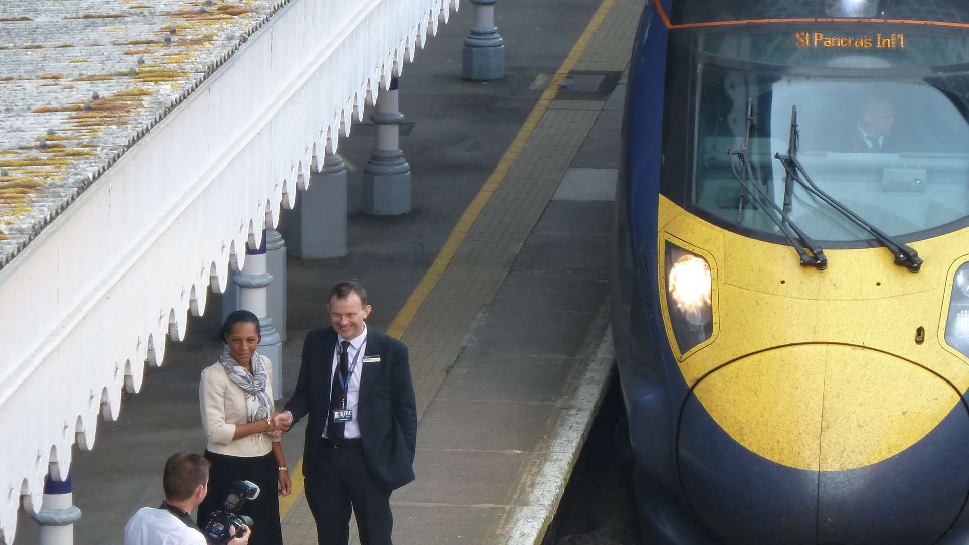Helen Grant at the launch of Maidstone's high-speed service in 2011.