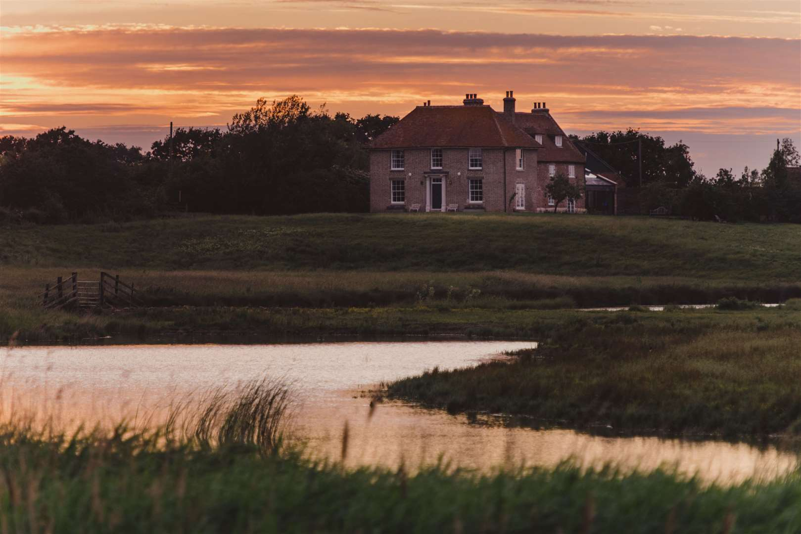 Kingshill Farmhouse has views across the Elmley National Nature Reserve on Sheppey
