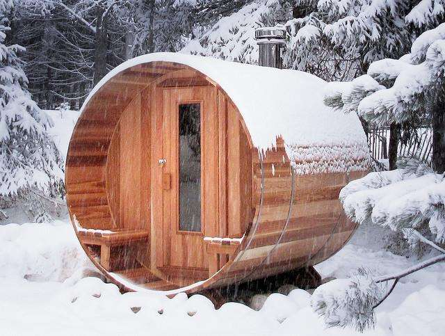 This log-burning sauna looks inviting even in the snow