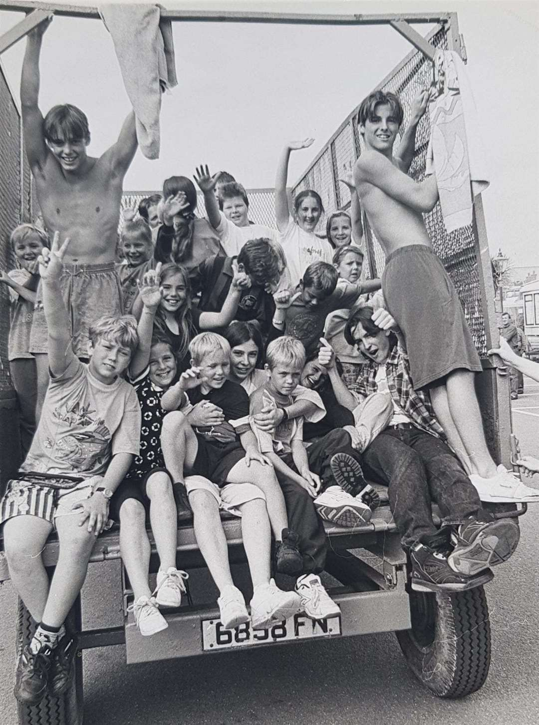 People enjoying a tractor ride at the Foxhunter Park site in the 1980s