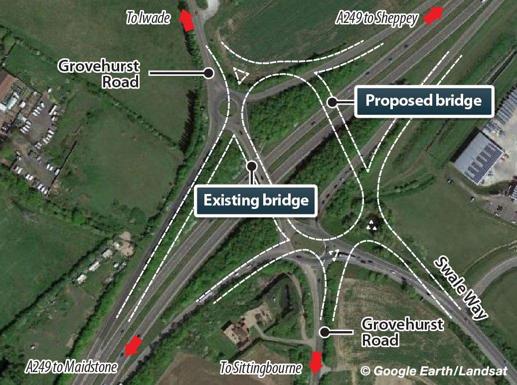 What the Grovehurst roundabout on the A249 could look like if government funding is approved