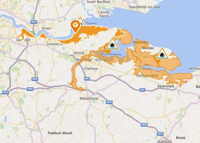 A flood alert has been put in place across parts of the Kent coastline from Dartford to All Hallows.