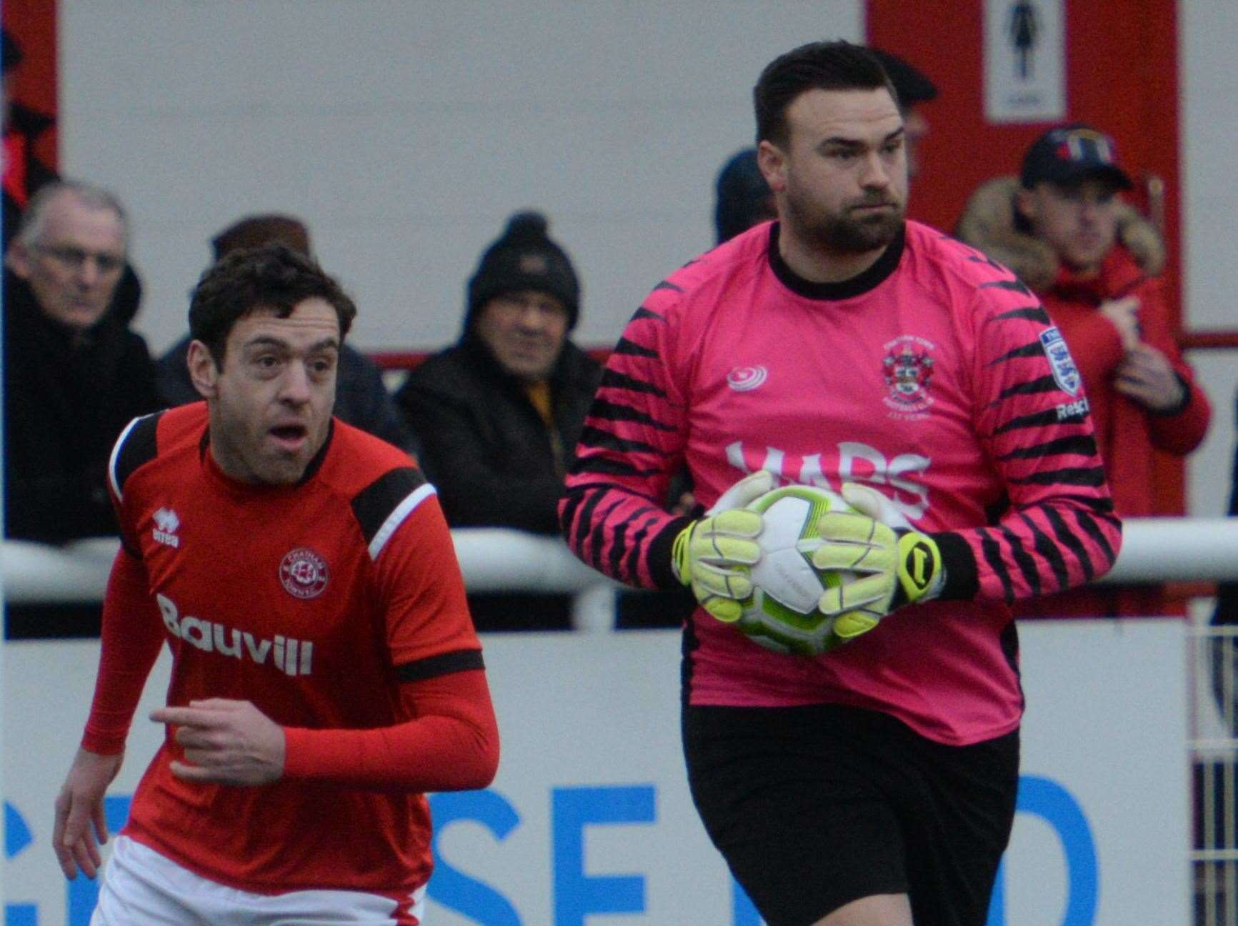 Chatham goalkeeper Dan Ellis played on with a broken leg in their FA Vase tie against Corinthian Picture: Chris Davey