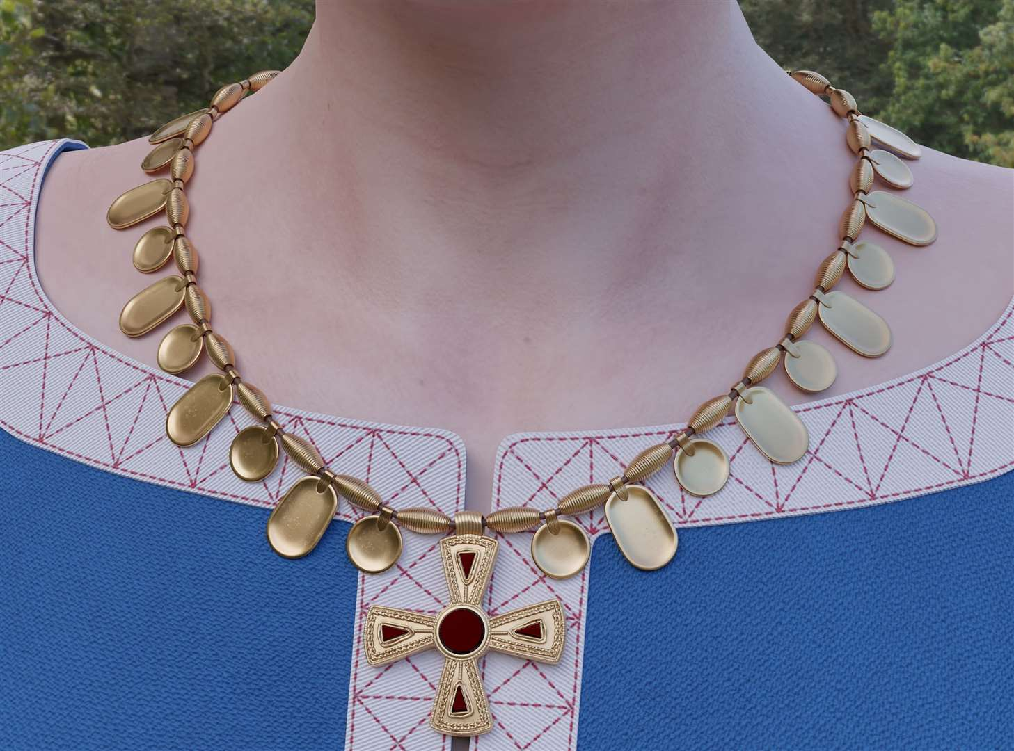 How the cross of Elham could have been part of a necklace - although it is not known if it would have formed such a piece - in a digital reconstruction.  Photo: Lloyd Bosworth