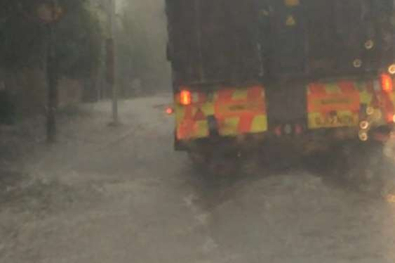 Cars are wading through inches of water in Quarry Hill, Tonbridge. Picture: @LauraJCaryl