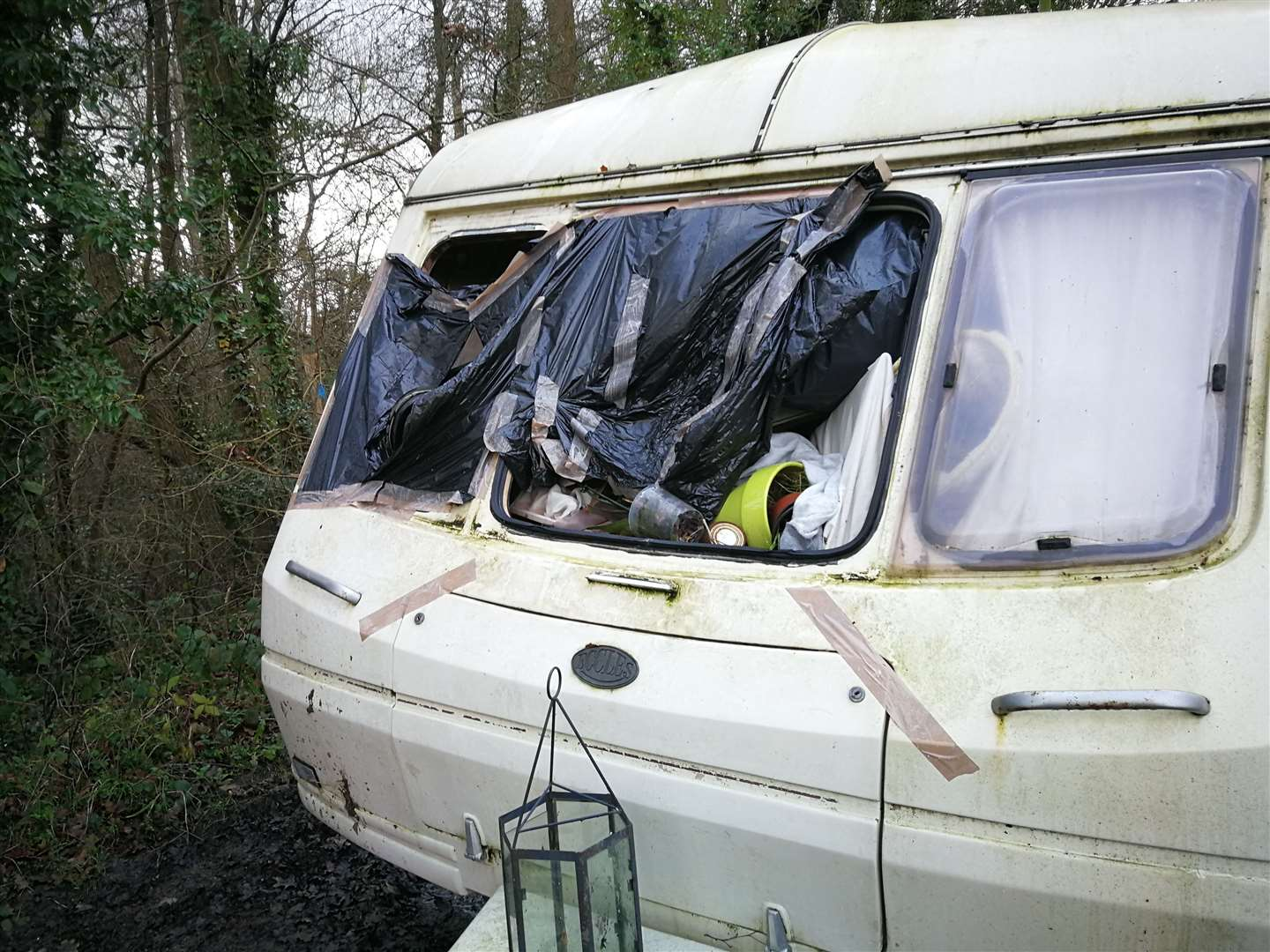 The caravan is stuffed full with rubbish