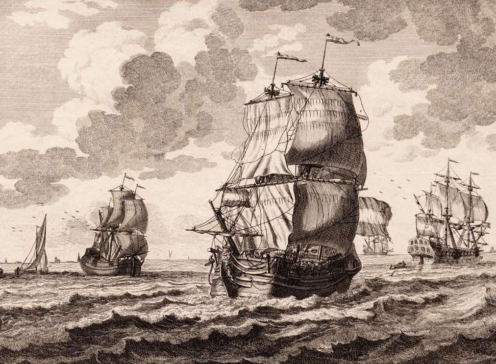 A drawing of a ship similar to the Rooswijk by Adolf van der Laan in 1716. Picture: Collection of the Fries Scheepvaart Museum