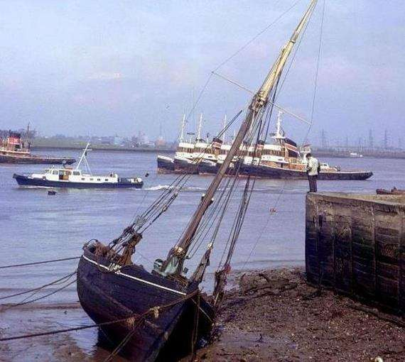 Thistle, the last bawley boat on Bawley Bay, next to St Andrew's Church on the waterfront at Gravesend