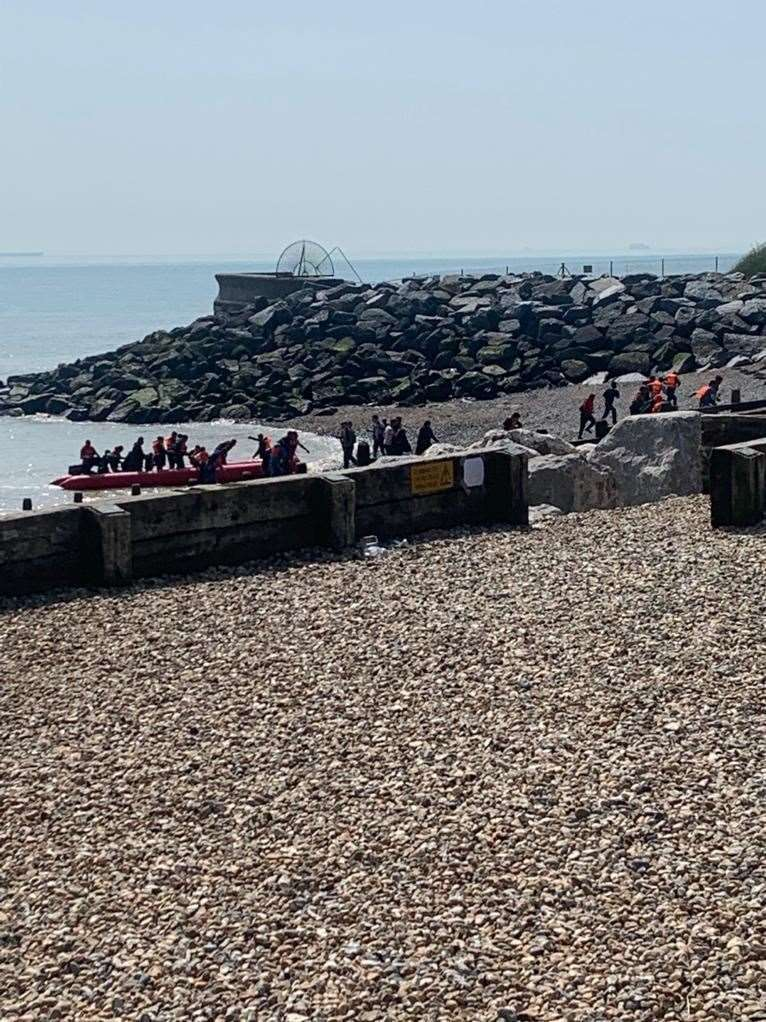 Asylum seekers disembarking at Kingsdown