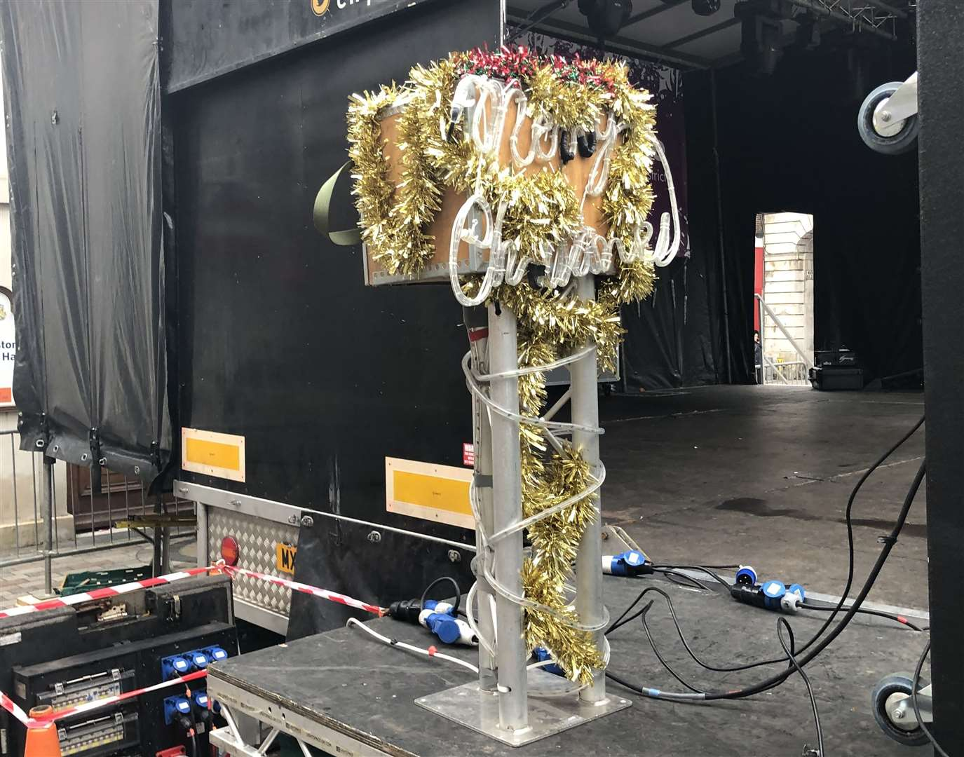 A stage has been set up in Jubilee Square, Maidstone(22212911)