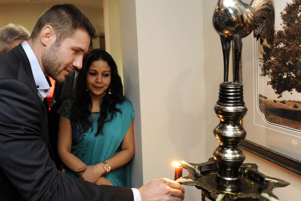 Ben Cohen at a candle lighting for the opening with healing specialist Dr Deepa Patwal.Picture: Ian Scammell, courtesy of Oyster Bar Photography