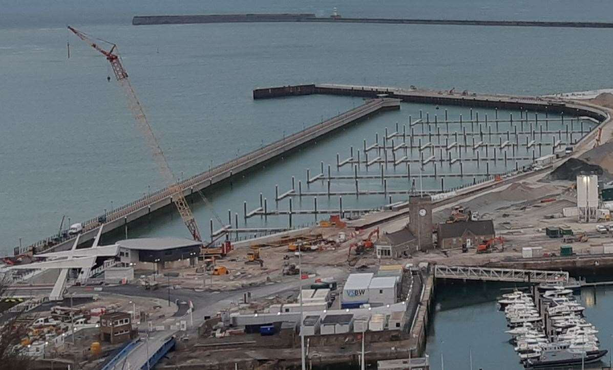 The new pier and marina curve as seen from the Western Heights, photographed a few weeks ago