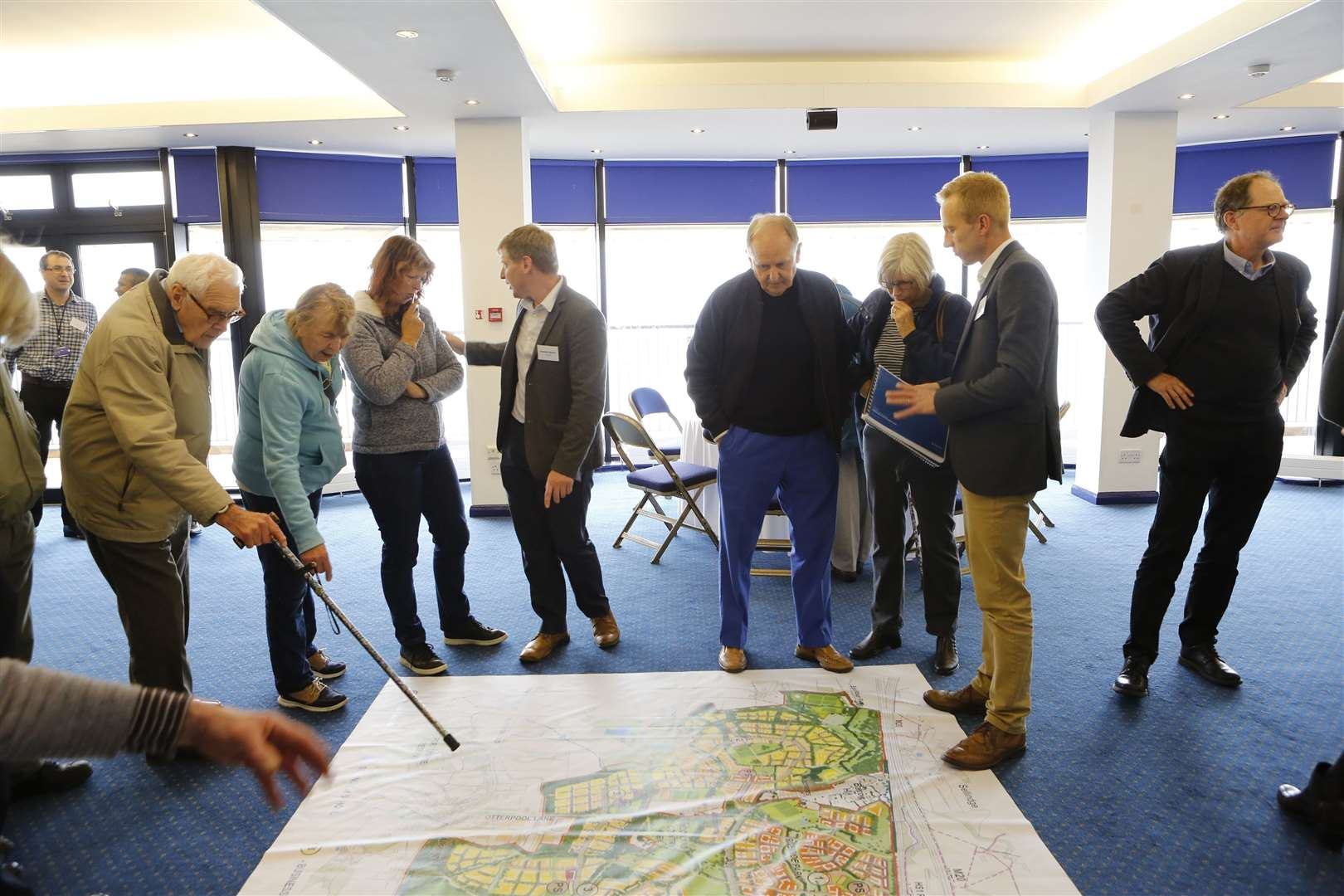 Residents ask questions about what Otterpool Park could be like at the public consultation at the Channel Suite. Picture: Andy Jones